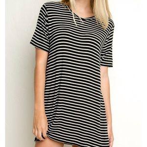 Brandy Melville Black/White Stripe T Shirt Dress